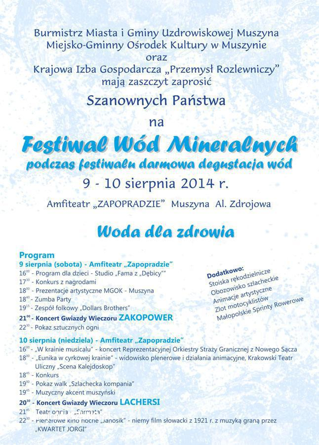 Festiwal Wód Mineralnych - plakat informacyjny cz 2