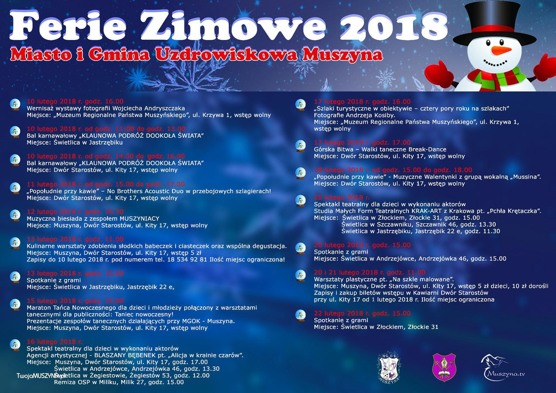 Ferie zimowe 2018 w Muszynie - plakat duży