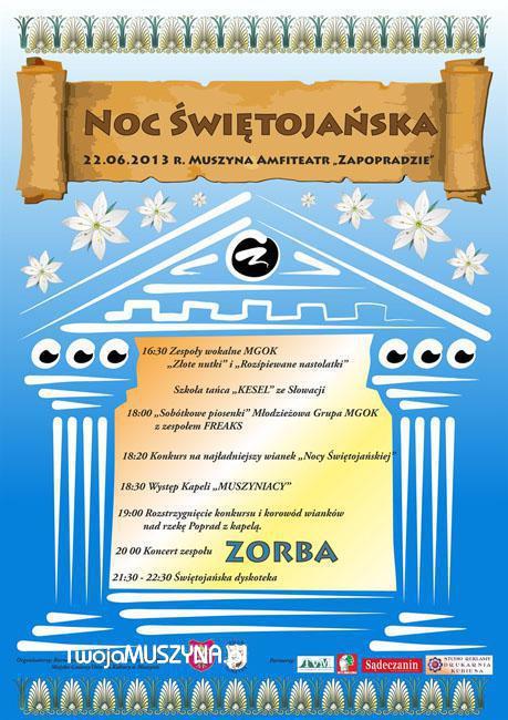 Noc Świętojańska w Muszynie - plakat