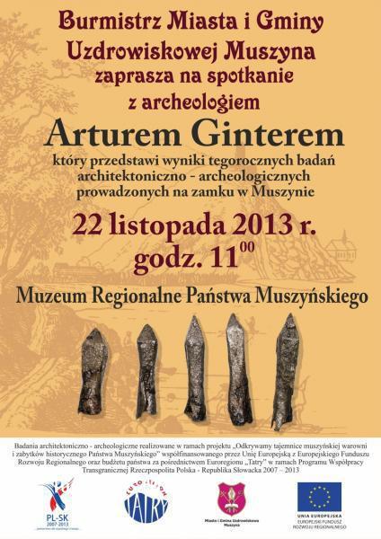 Spotkanie z archeologiem Arturem Ginterem - plakat