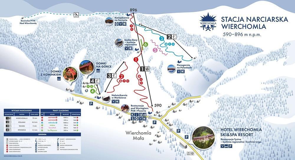 stacja narciarska Wierchomla - mapa tras i wyciągów