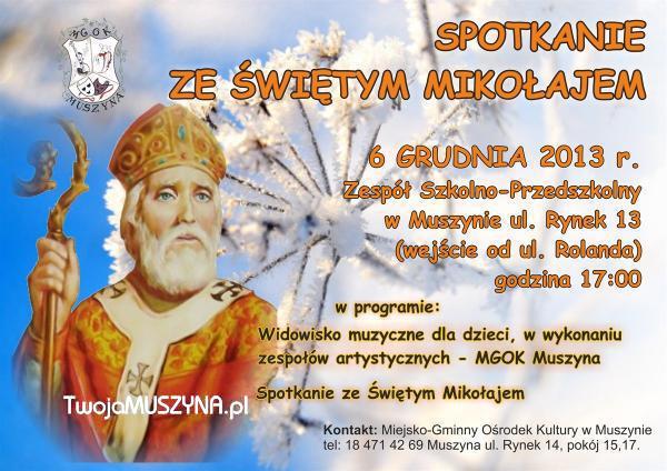 Spotkanie ze św. Mikołajem - plakat