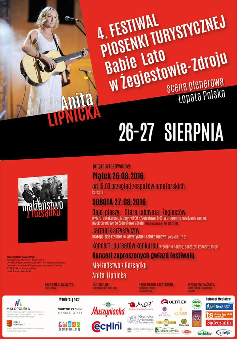 Festiwal Babie Lato 2016 w Żegiestowie - plakat