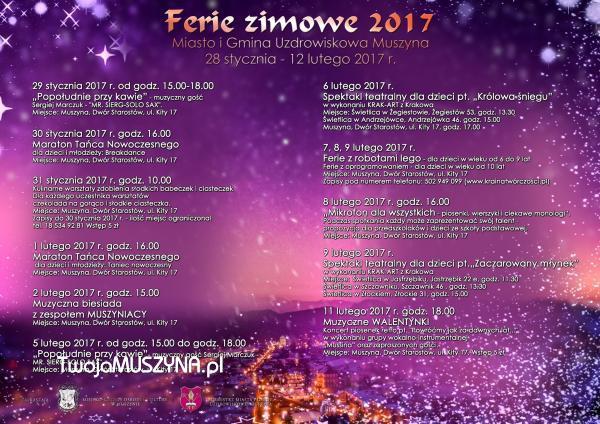Ferie 2017 w Muszynie - program