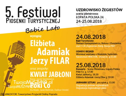"""5. Festiwal Piosenki Turystycznej """"Babie Lato"""" w Żegiestowie-Zdroju"""