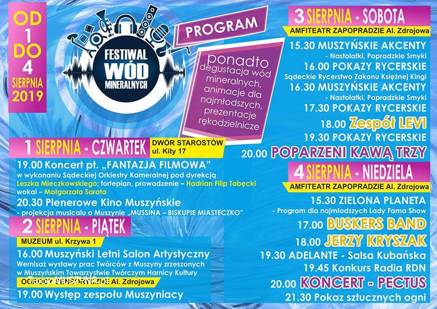 Program Festiwal Wód Mineralnych 2019 w Muszynie